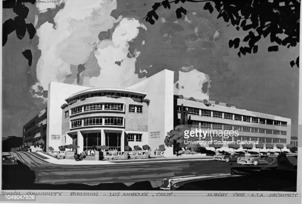 Photograph of a drawing 'This is the new Jewish Community Building under construction at 590 North Vermont Avenue When completed it will serve as...