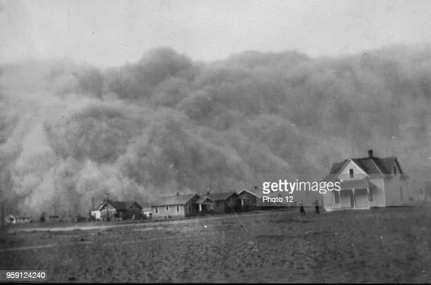 Photograph of a dust storm approaching Stratford Texas Dated 1935