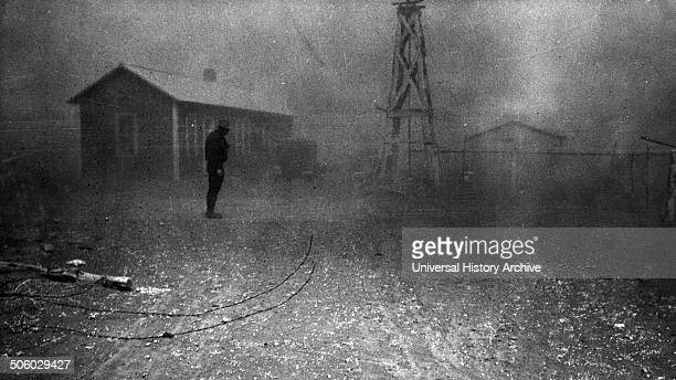 Photograph of a dust storm Conditions like these forced many farmers to abandon the area New Mexico Dated 1935 Photo by