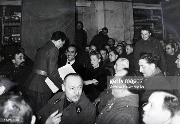 Photograph of a film screening in Paris during the German occupation of France in World War Two 1940 Danielle Darrieux and was present in the Army...