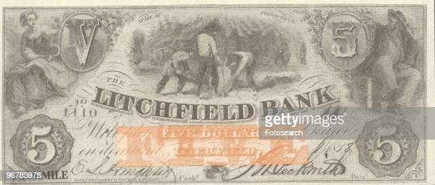 A Photograph of a Five Dollar Bank Note circa 1858