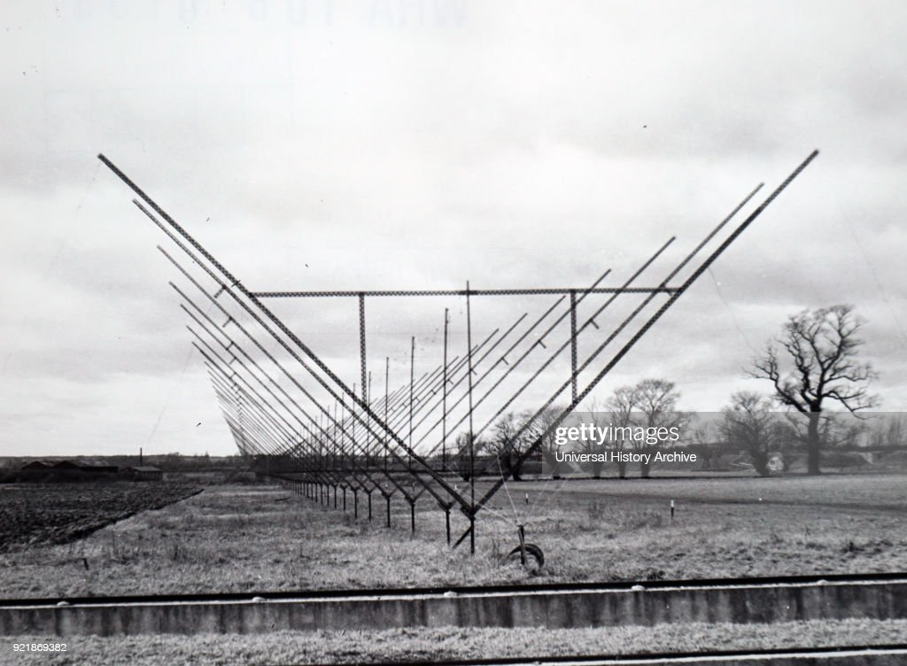 Photograph of a fixed radio interferometer aerial at the Mullard Radio Astronomy Observatory, Cambridge. Dated 20th century.