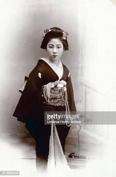 Photograph of a geisha of Kanegawa a flourishing city in the Japan Sea Dated 1890