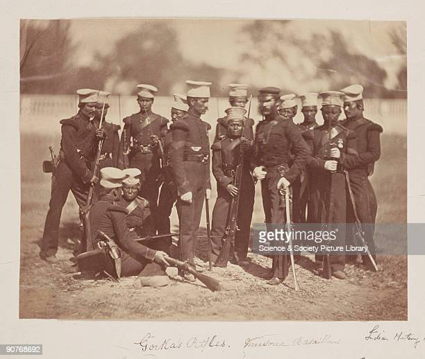 A photograph of a group of Gurkha soldiers with their British officer taken by Felice Beato during the Indian Mutiny or Great Sepoy Rebellion The...
