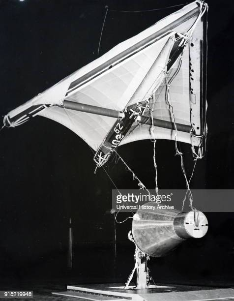 Photograph of a half scale model of the Gemini 1 space capsule Gemini 1 was the first unmanned test flight of the Gemini spacecraft in NASA's Gemini...