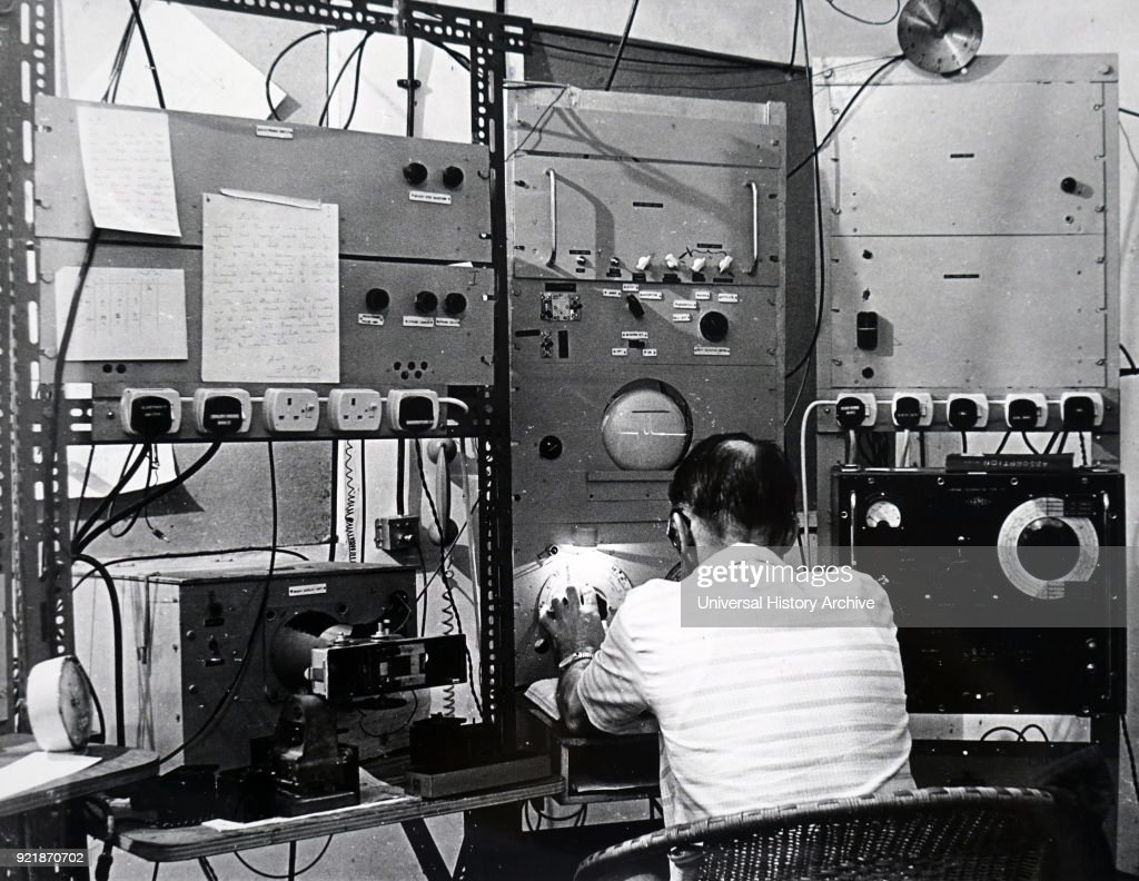 Photograph of a high power microwave receiver receiving messages from orbiting satellite (Alouette), at University of Ibadan, Nigeria. Dated 20th century.