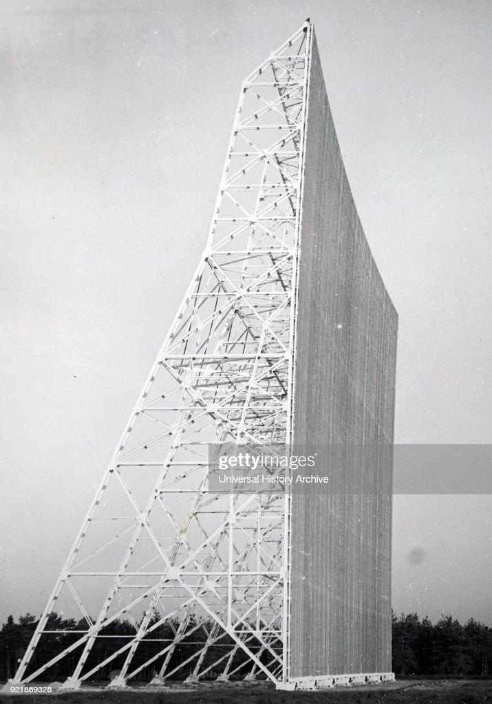A large flat reflecting surface used to pick up radio waves. : News Photo