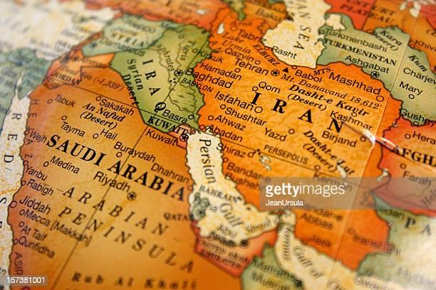 a photograph of a map of the middle east - gulf countries stock pictures, royalty-free photos & images