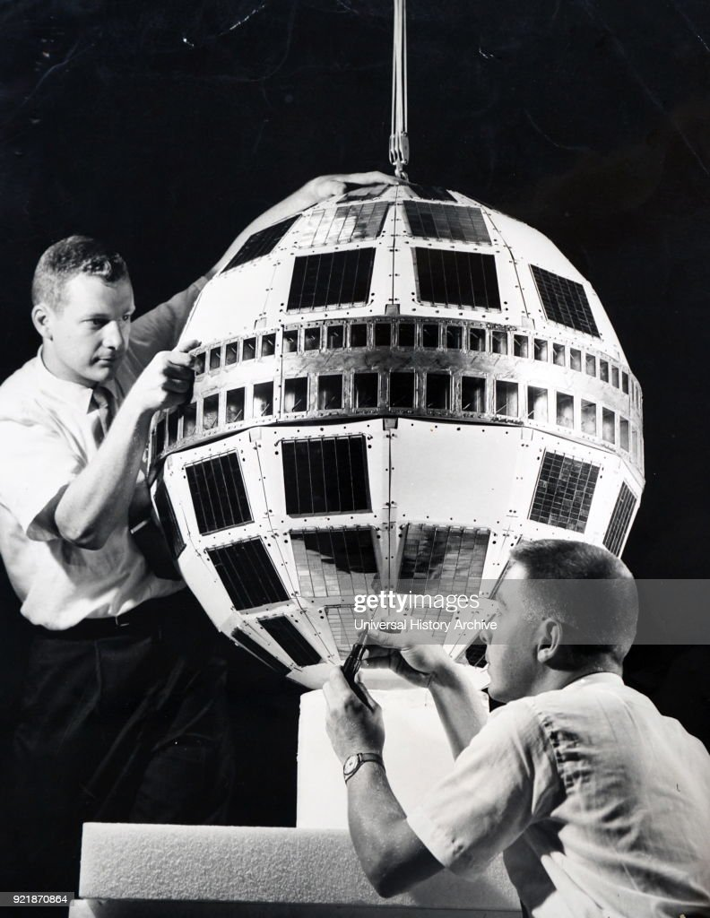 Photograph of a model Telstar satellite, which would late be attached to the Thor-Delta rocket Dated 20th century.