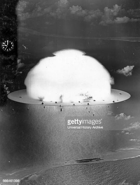 Photograph of a mushroom cloud during Operation Crossroads nuclear weapons test on Bikini Atoll Dated 1946