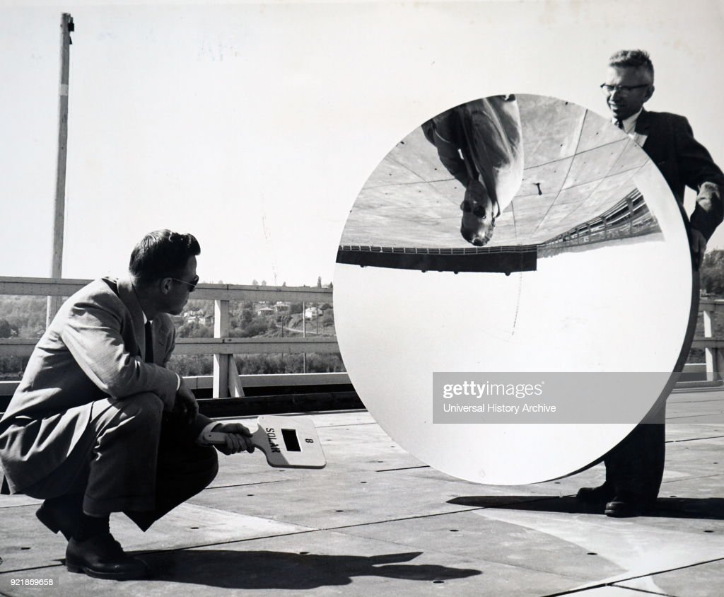 Photograph of a new type of mirror for space flights. Dated 20th century.