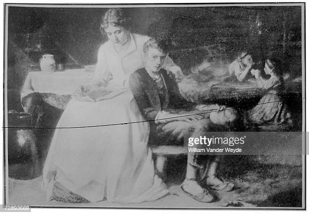 Photograph of a painting of American President Abraham Lincoln as a young boy as he sits on bench with a woman likely his mother Nancy Banks Lincoln...