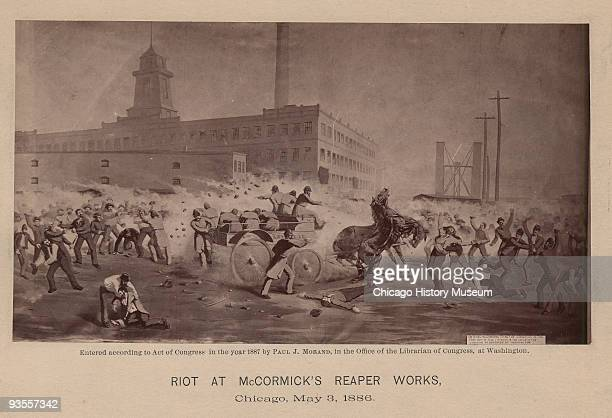 Photograph of a painting of men fighting with a horse and wagon in the foreground during riots at the McCormick Reaper Works May 3 1886 The brutal...