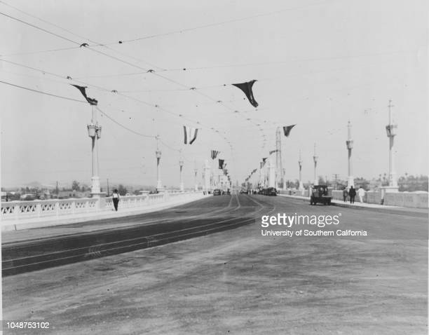 Photograph of a part of the roadway of the new Fourth Street viaduct 1931 'No1 Part of the roadway of the new 4th Street Viaduct built by Los Angeles...