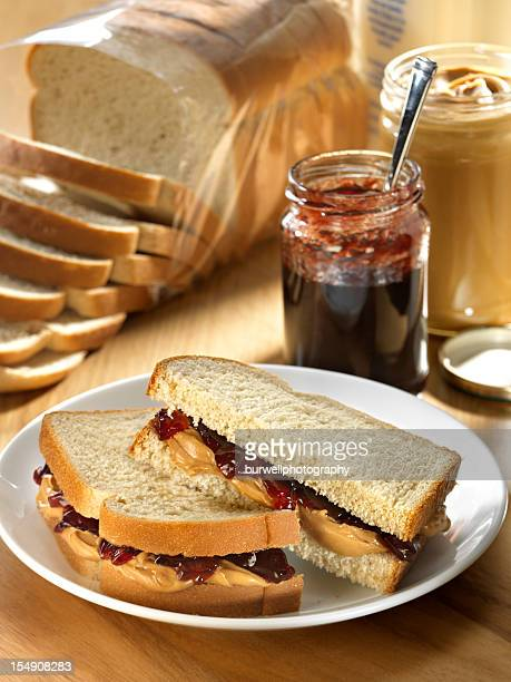 A photograph of a peanut butter and jelly sandwich