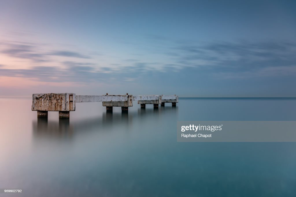 Photograph of a pontoon in Nice : Stock Photo