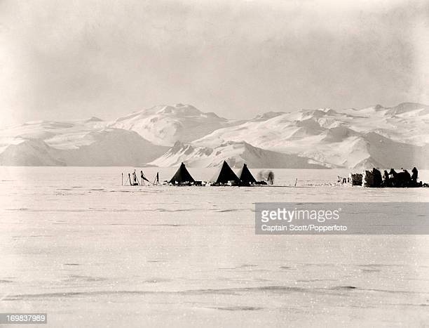 A photograph of a pony camp Camp 26 looking west to Mount Longstaff on the Great Ice Barrier taken during the last tragic voyage to Antarctica by...