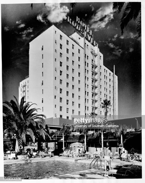 Photograph of a pool and promenade area at the Hollywood Roosevelt Hotel 'News / From Brigham Townsend / Public relation director Hull Hotels...