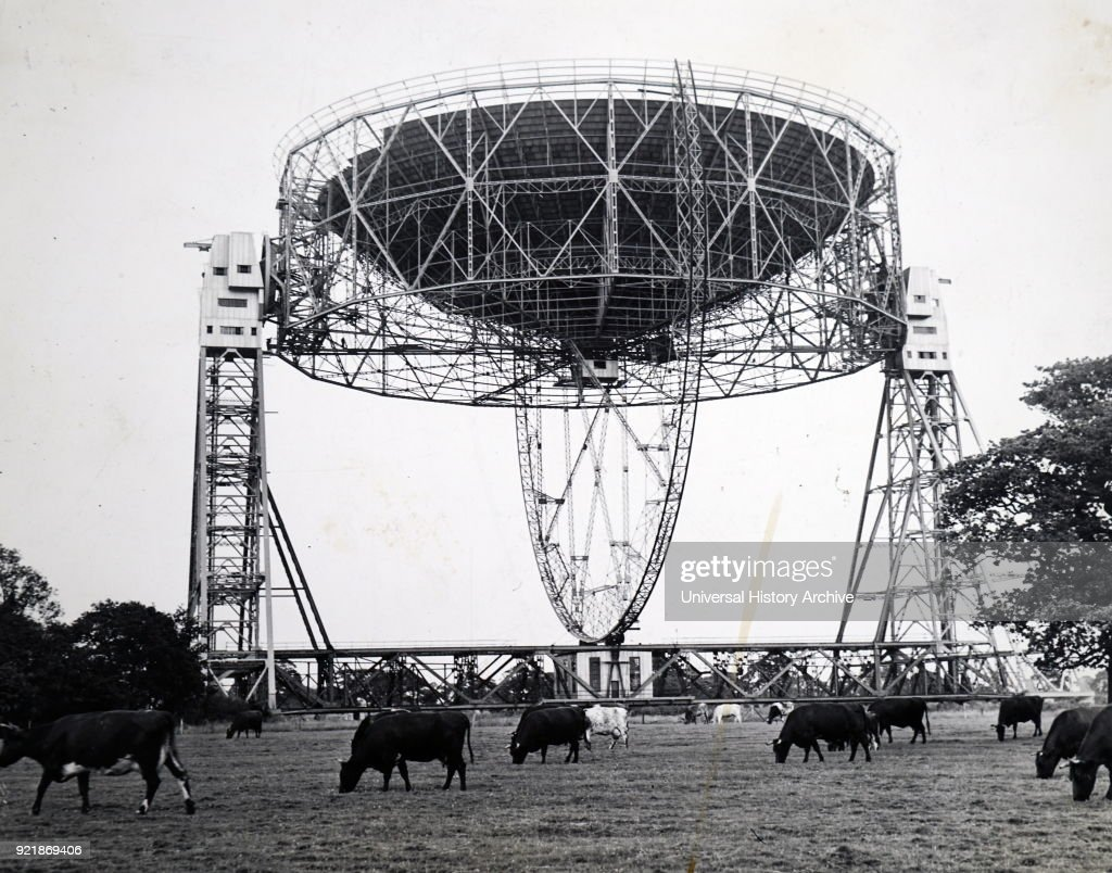 Photograph of a radio telescope. A radio telescope is a specialised antenna and radio receiver used to receive radio waves from astronomical radio sources in the sky in radio astronomy. Dated 20th century.