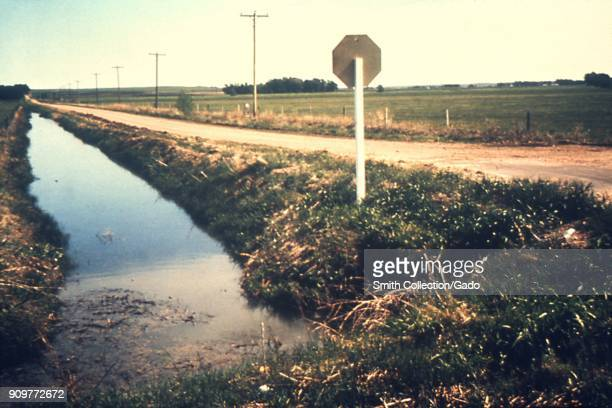 Photograph of a roadside canal full of standing water accumulated from a nearby irrigated field a risk for becoming mosquito vector breeding ground...