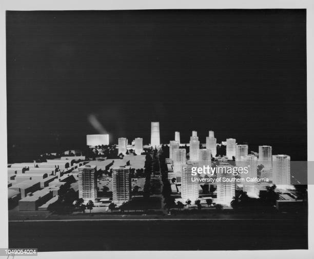 Photograph of a scale model of $400 million Century City planned development of 20th CenturyFox lot 8 January 1958Century City Los Angeles...