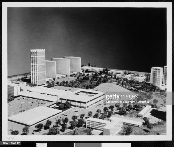 Photograph of a segment of an architectural model of Century City Verso dated 'January 8 1958'Los Angeles City Century City Plans