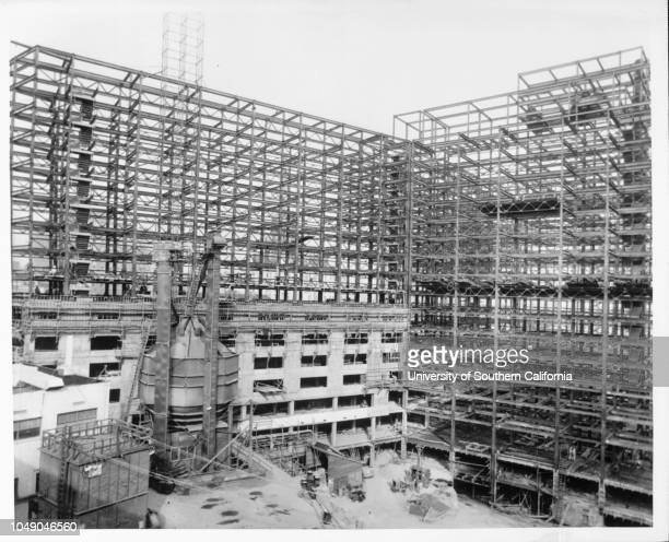Photograph of a steel frame erected by Consolidated Western Steel Corporation for the $20 million Statler Hotel and Office Building in Los Angeles...