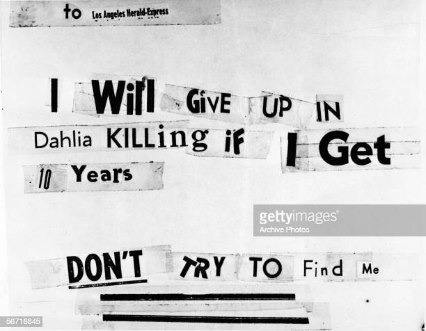 Photograph of a threatening letter assembled from newspaper lettering which was addressed to the Los Angeles Herald-Express and claims to have been...