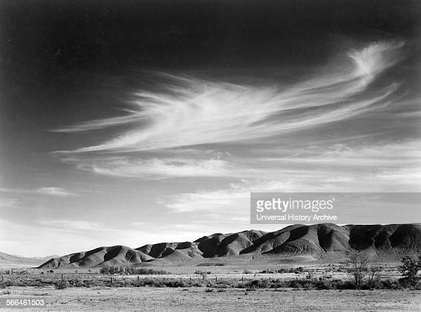 Photograph of a view from Manzanar to the Alabama Hills Photographed by Ansel Adams photographer Dated 1943