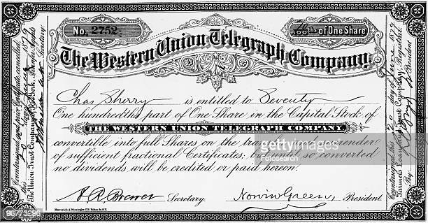 A Photograph of a Western Union Telegraph Company Stock Certificate circa 1879