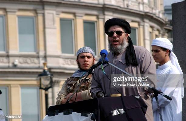 Photograph of Abu Hamza. Mustafa Kamel Mustafa an Egyptian cleric who was the imam of Finsbury Park Mosque in London, England, where he preached...