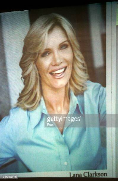 Photograph of actress Lana Clarkson is presented by the prosecution during Phil Spector's murder trial at the Los Angeles Superior Court June 28,...