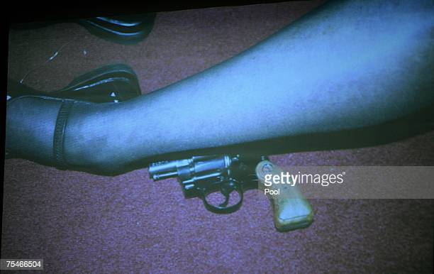 Photograph of actress Lana Clarkson's leg after her shooting death is projected at the murder trial in Superior Court July 18, 2007 in Los Angeles,...