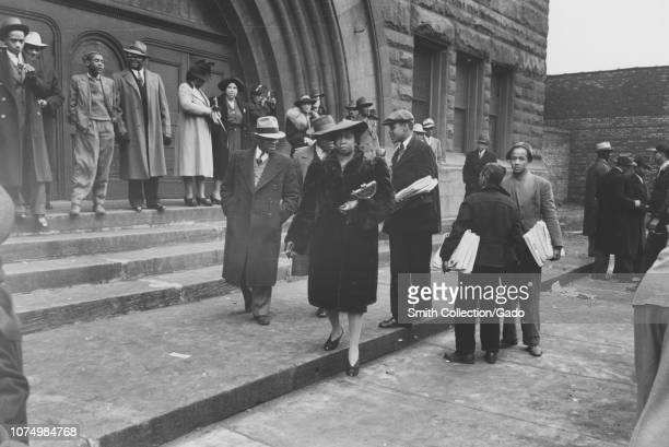 Photograph of African American people gathered in front of Pilgrim Baptist Church on Easter Sunday Southside of Chicago Illinois 1940 From the New...