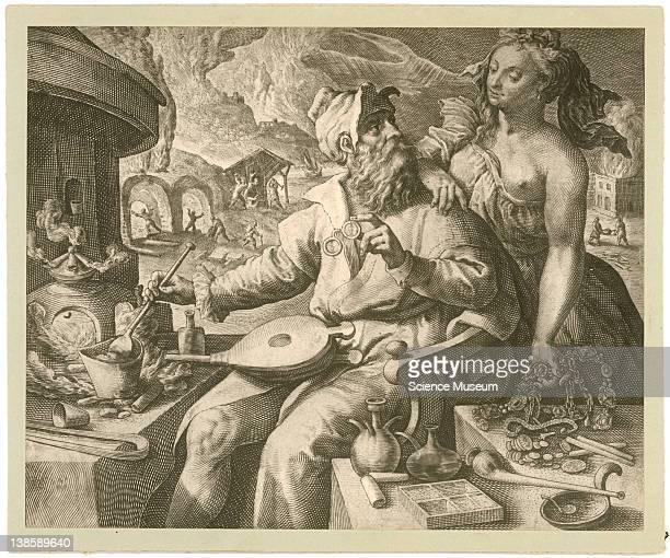 Photograph of alchemical engraving 'Igne quid utilius et ispa'