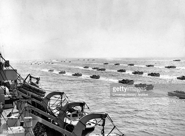Photograph of Allied landing craft underway to the beaches of Normandy Dated 1944