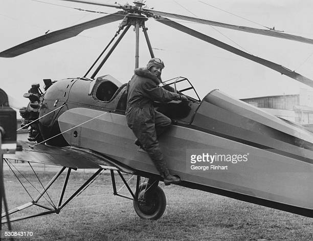 Photograph of Amelia Earhart and her autogiro Amelia set a woman's autogiro altitude record of 18415 feet in April
