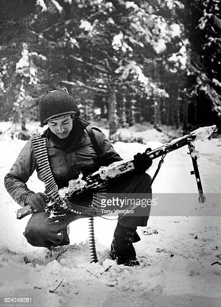A photograph of American GI Tony Vaccaro taken in the Ardennes Belgium World War II December 1944