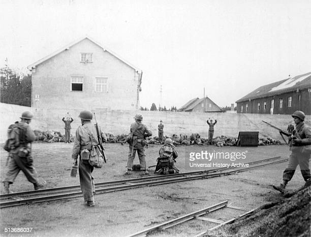 Photograph of American soldiers executing guards of the Dachau Concentration Camp Dated 1945