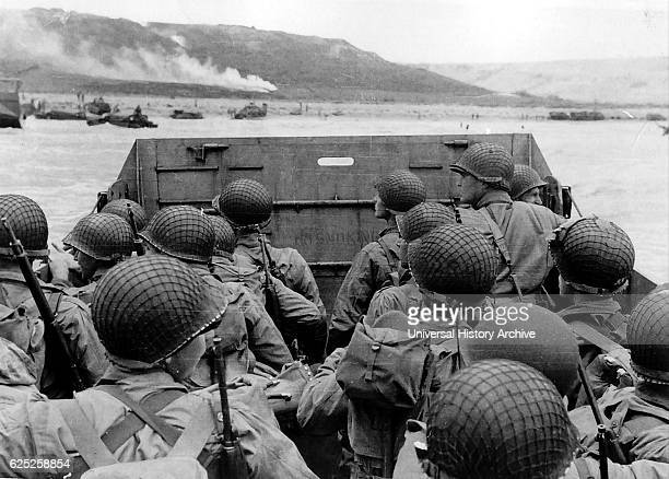 Photograph of American troops approaching Omaha Beach Normandy on DDay Dated 20th Century