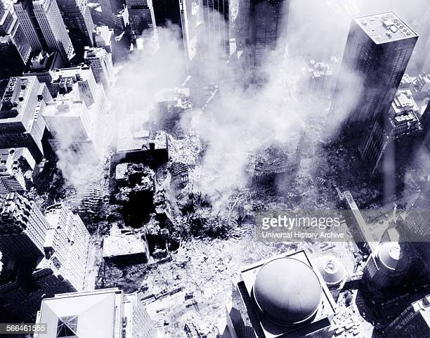 Photograph of an aerial view after the 9/11 attacks on the World Trade Centre Site in New York. Dated 2001.