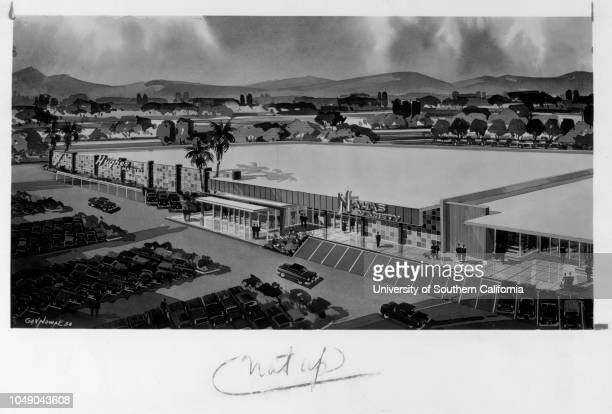 Photograph of an architectural drawing of a marketplace in San Fernando Valley 'San Fernando Valley Market Area Planned / Multimillion dollar...
