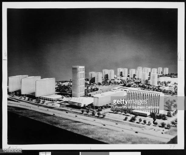 Photograph of an architectural model of Century City 'Giant $400 million city to rise on 20th CenturyFox lot here Santa Monica boulevard looking...