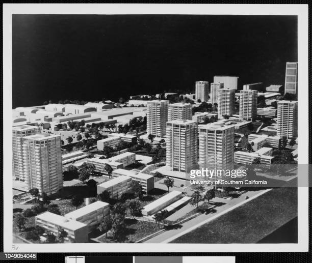 Photograph of an architectural model of Century City Verso dated 'January 8 1958'Los Angeles City Century City Plans