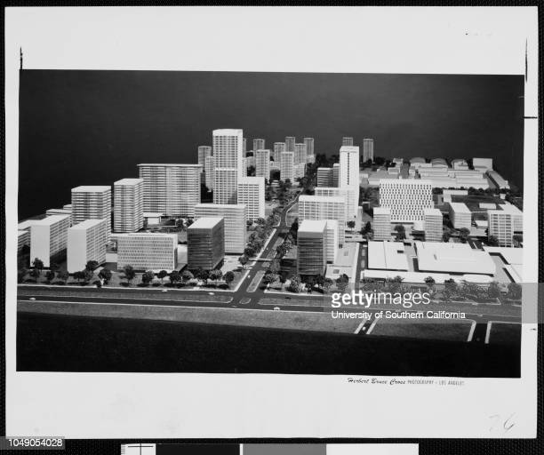 Photograph of an architectural model showing how Century City will look from Santa Monica Boulevard 'Model shows how Century City will look from...