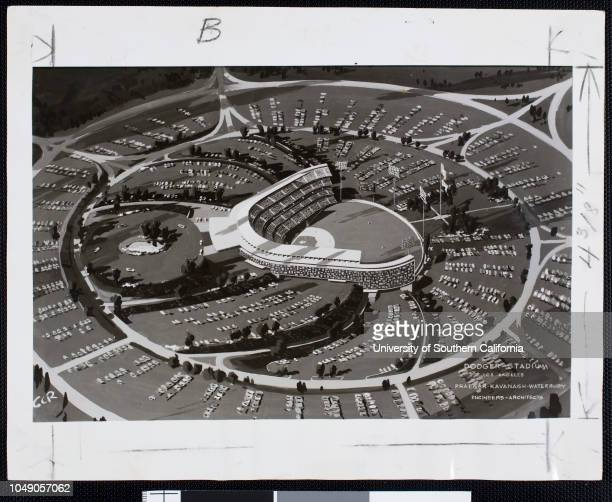 Photograph of an artist's conception of the new Dodgers Stadium in Chavez Ravine Los Angeles ' Artist's conception of stadium obtained from the...