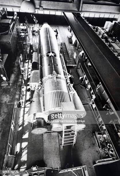 Photograph of an Atlas Missile inside a hanger at Cape Canaveral Florida The SM65 Atlas was the first operational intercontinental ballistic missile...