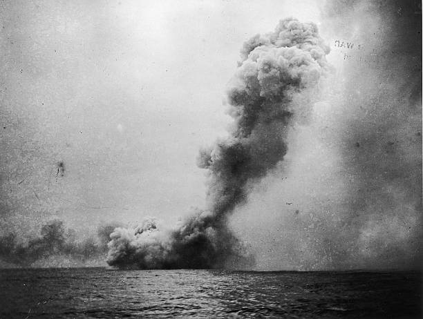 A Photograph of an Explosion at Sea during the Battle...