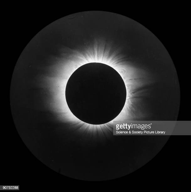Photograph of an original drawing showing the corona around the Sun during a solar eclipse The pearly and ghostly light is only seen during the brief...