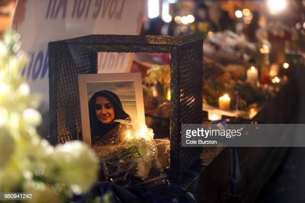 A photograph of Anne Marie D'Amico a victim of the mass killing is shown at a vigil on April 24 2018 in Toronto Canada A suspect identified by police...